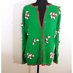 Quacker Factory Green Candy Cane Sweater
